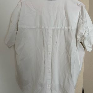MADEWELL white short sleeve collared blouse